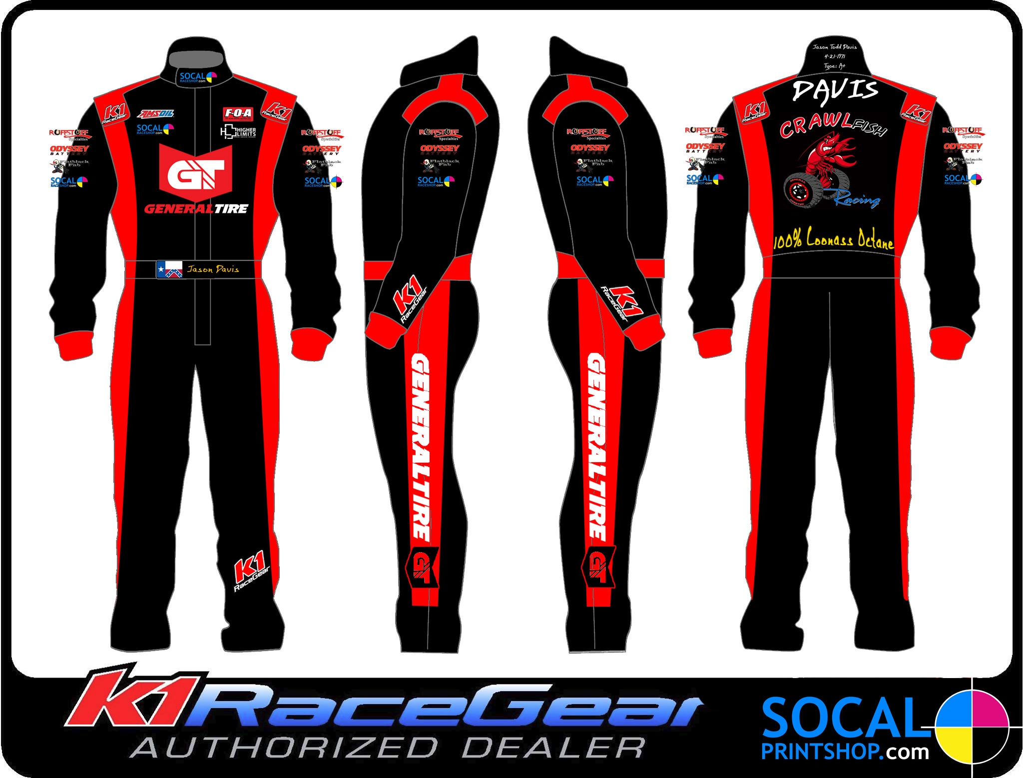 Socal Print Shop Full Color Printed Or Embroidery Race Suits And